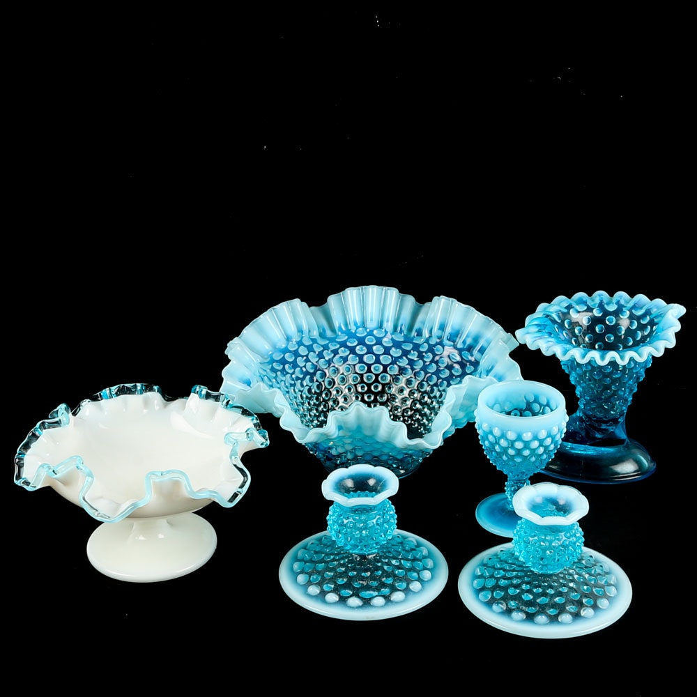 Fenton Style Blue Hobnail Compote, Vases, and Candleholders