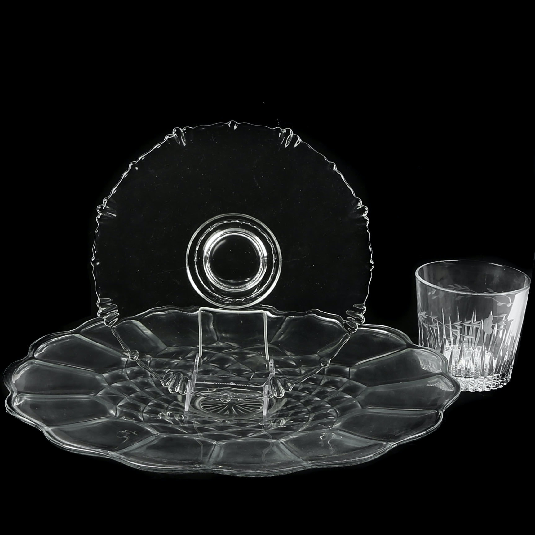 Glass Platter, Tray, and Ice Bucket