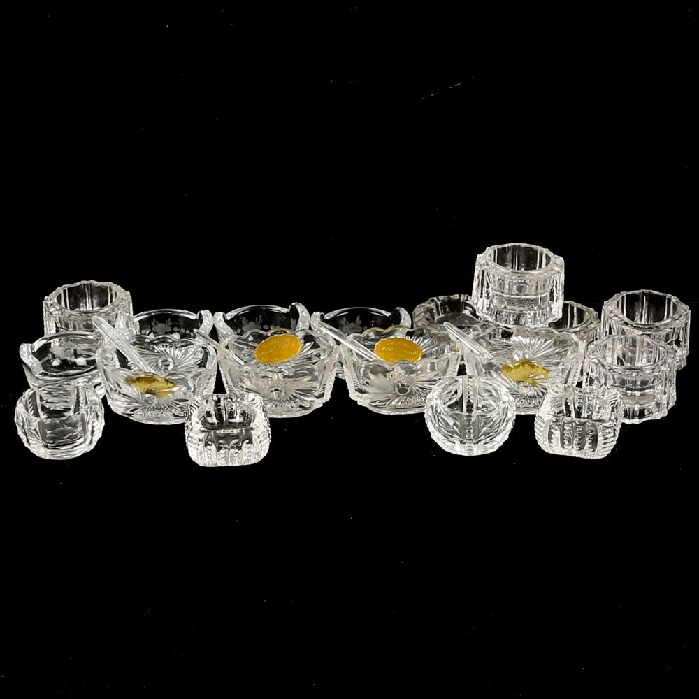 Crystal and Glass Salt Cellars with Spoons