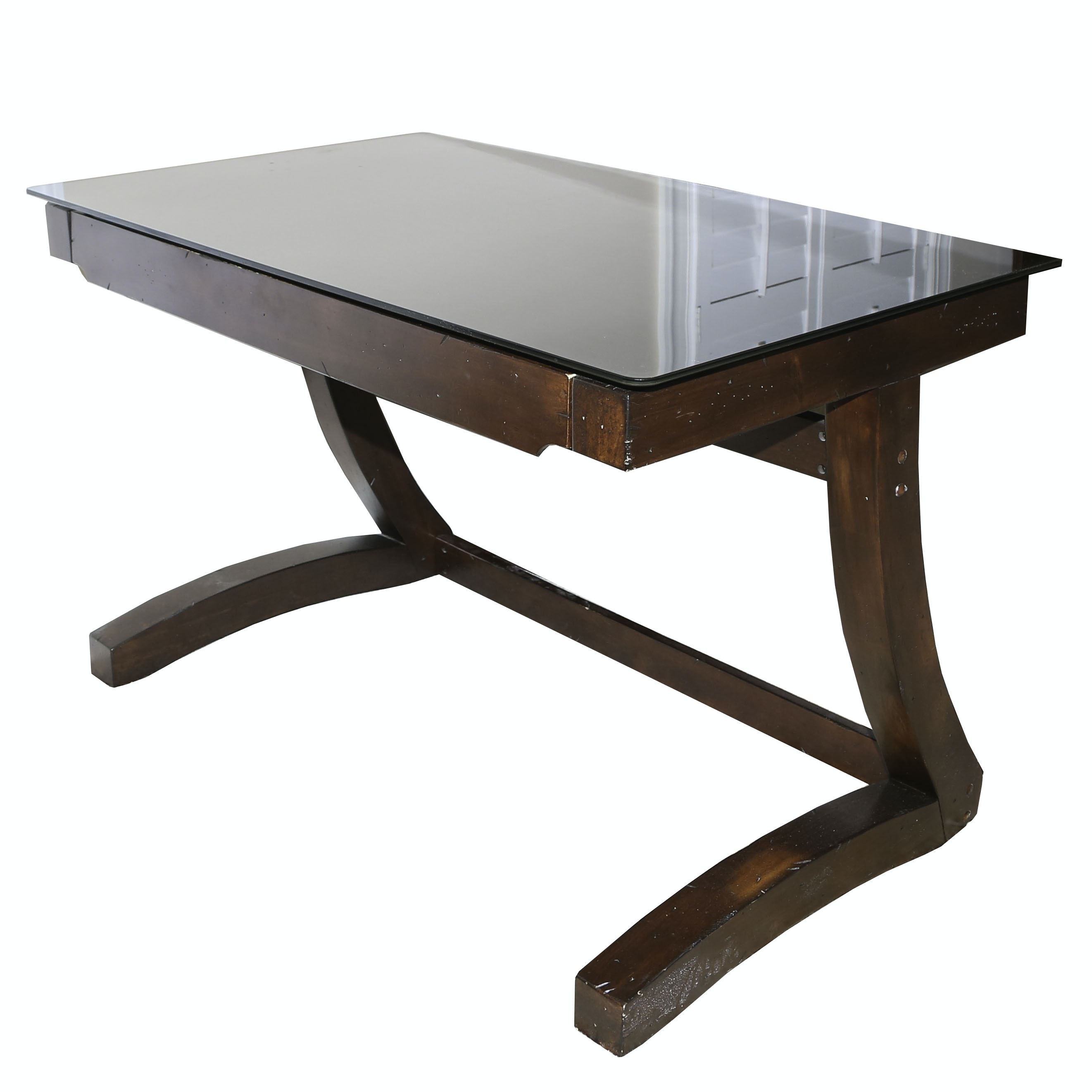 Wooden and Glass Cantilever Computer Desk by Whalen, 21st Century