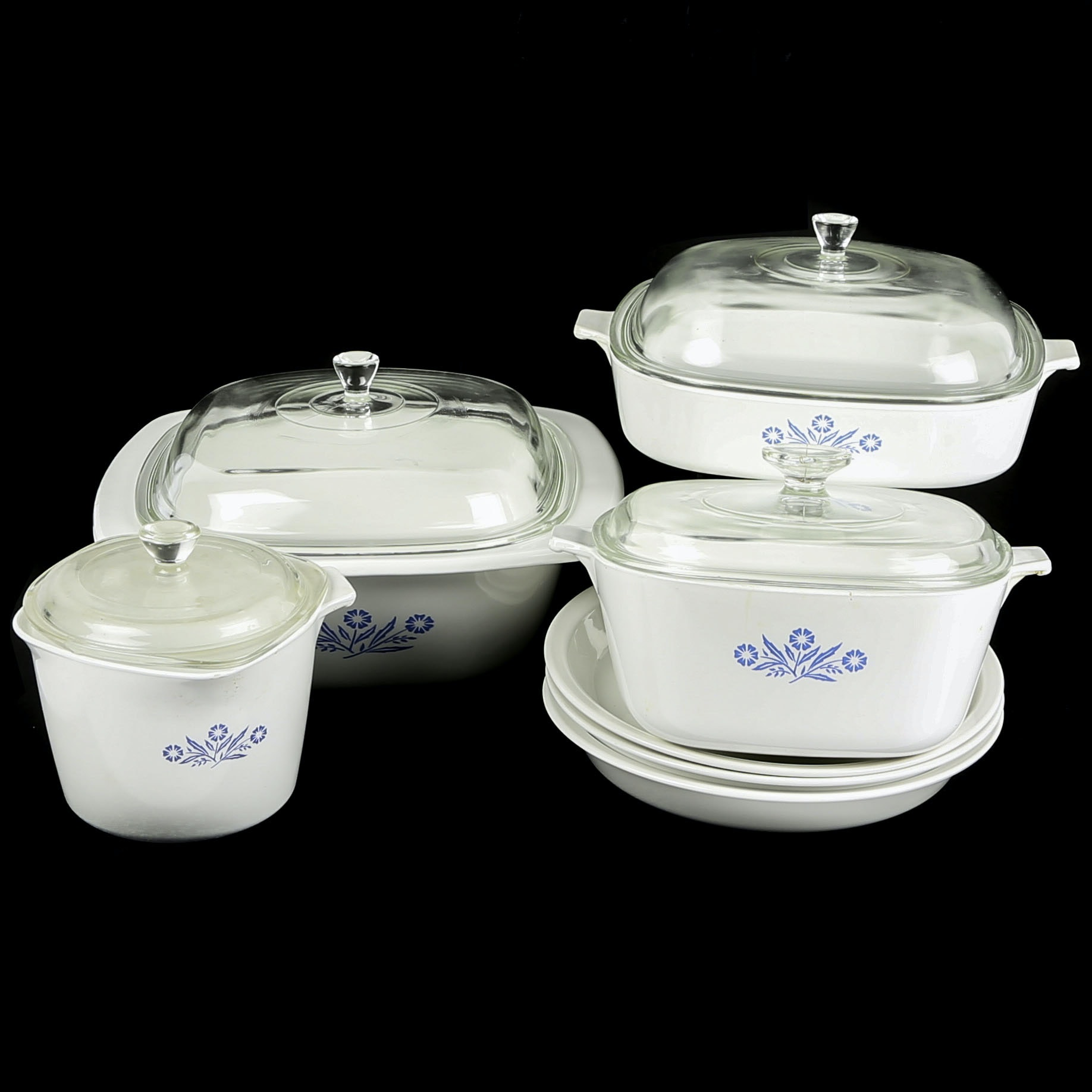 "Corning Ware ""Cornflower Blue"" Casseroles, Measuring Cup, and Pie Plates"