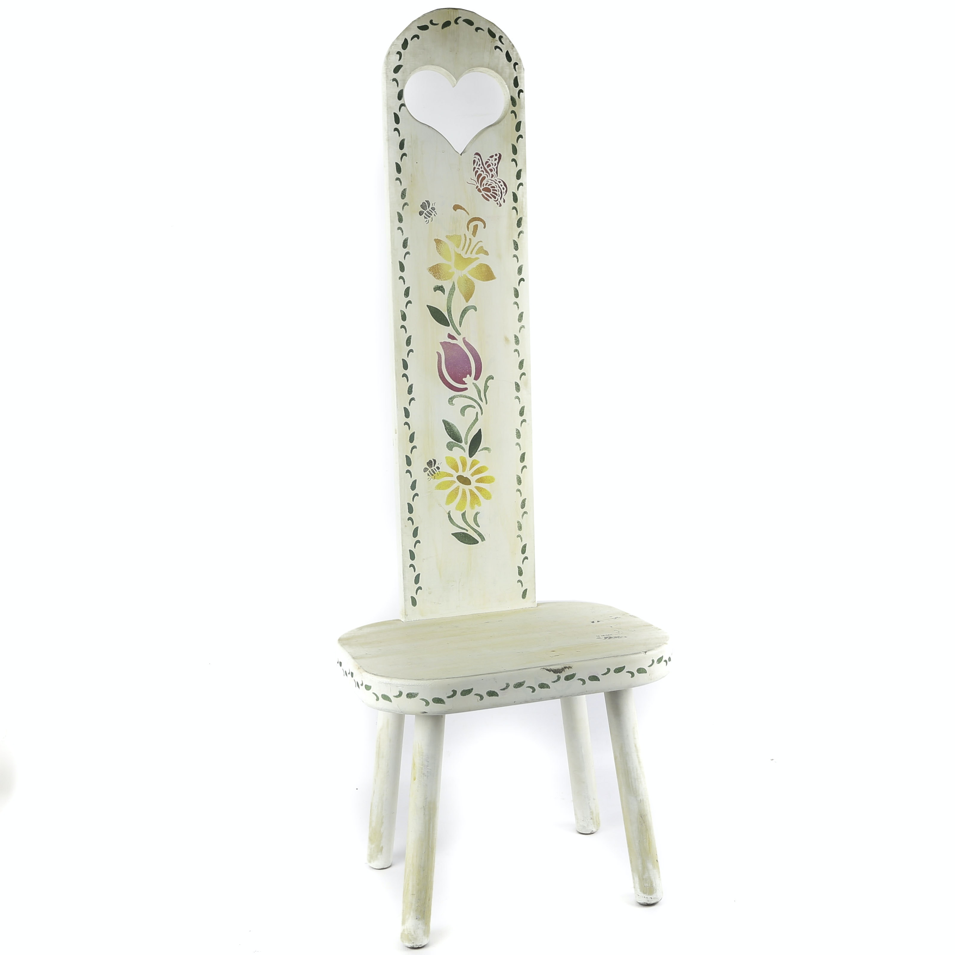 European Folk Style Painted Wooden Hall Chair, 20th Century