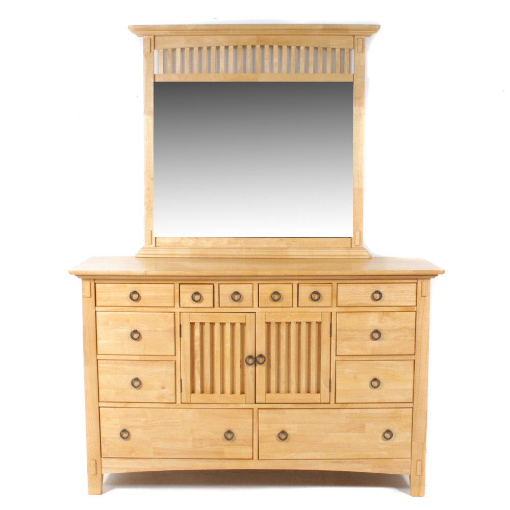 American Signature Arts and Crafts Style Dresser w/ Mirror