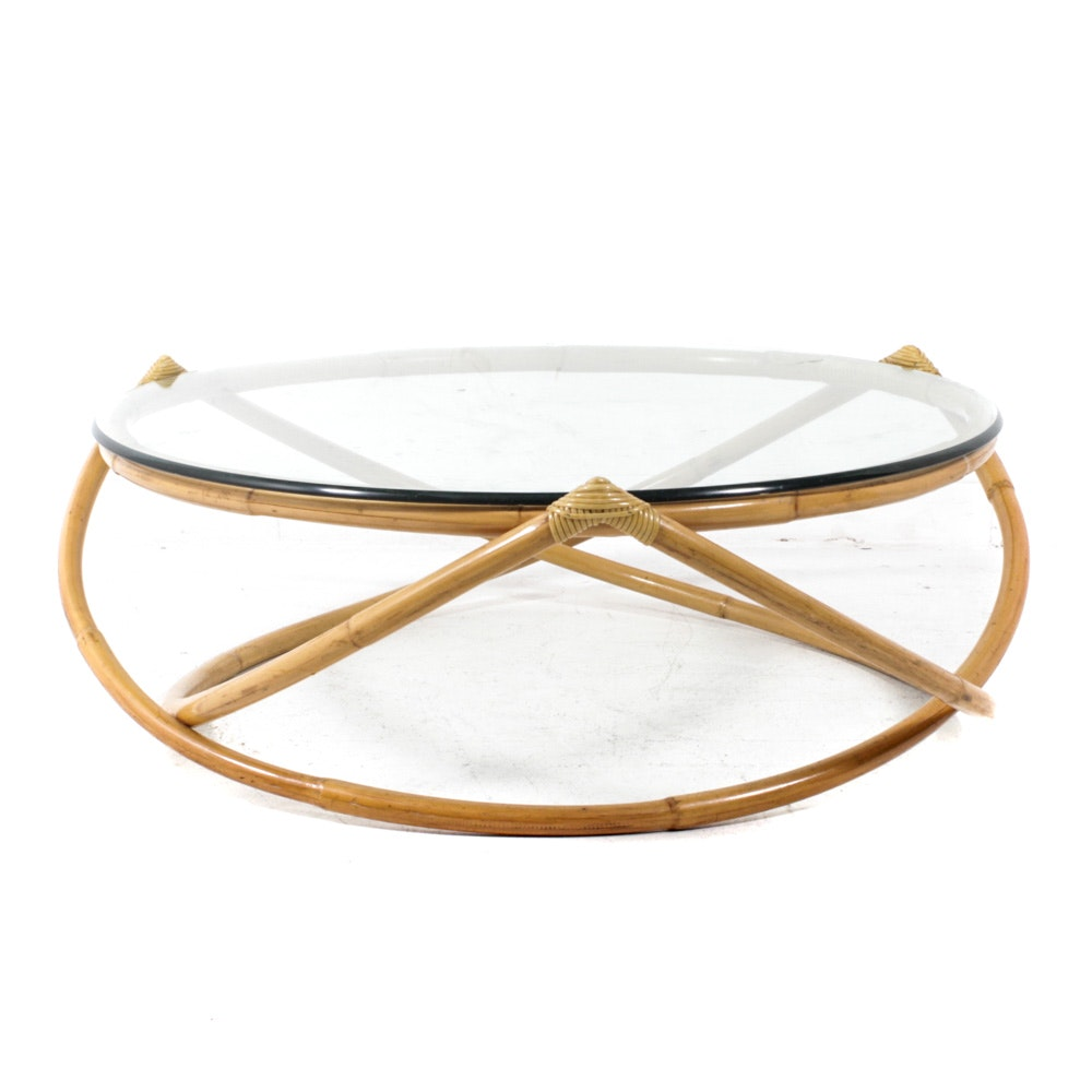 Glass Top Rattan Coffee Table