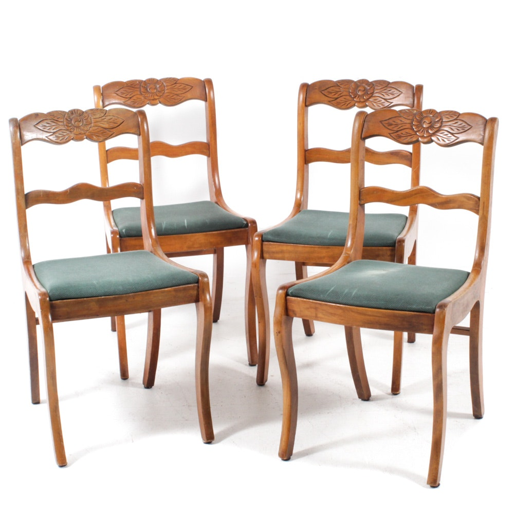 Vintage Tell City Chair Co. Hand Carved Wooden Chairs
