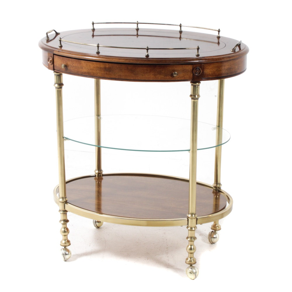 Hollywood Regency Style Wood and Brass Bar Cart, Late 20th Century