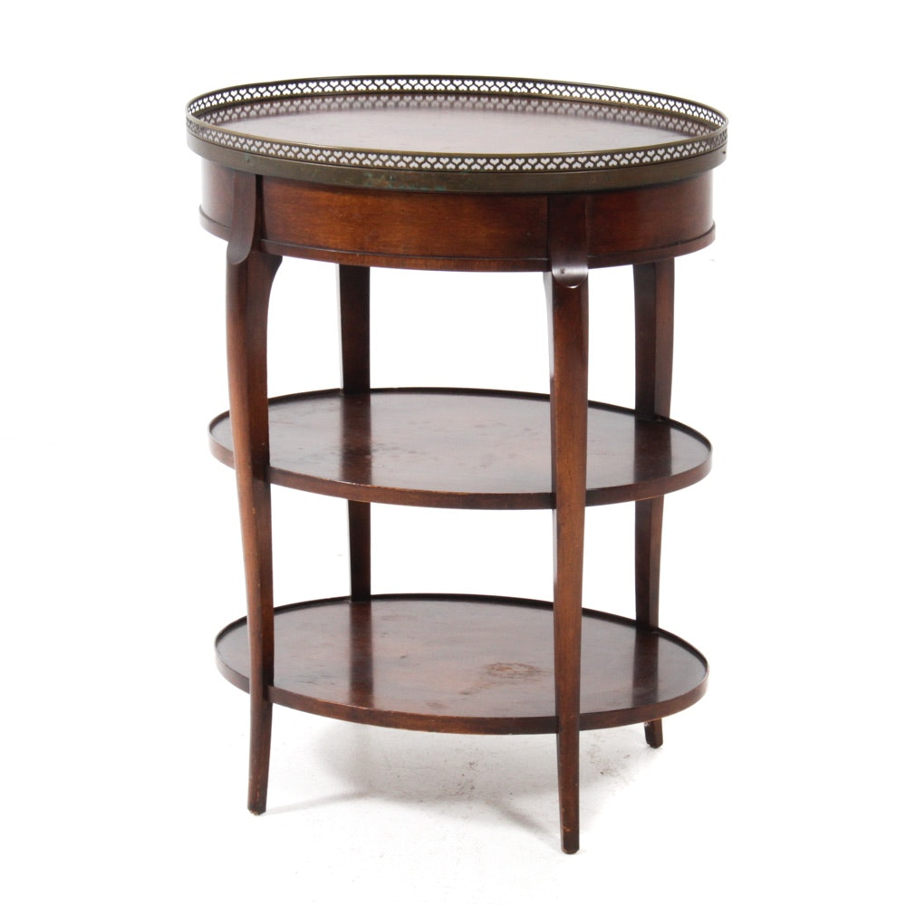 French Provincial Style Walnut Three-Tier Side Table, Mid-20th Century