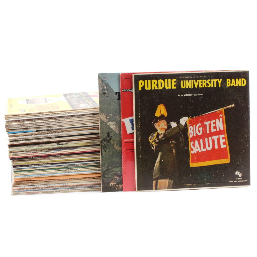 33 RPM Vinyl Records Including Barbershop, OSU Marching Band, and Sound Effects