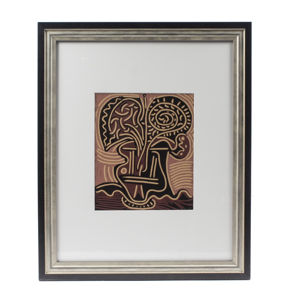 "Pablo Picasso Linoleum Cut ""Flower Vase"""