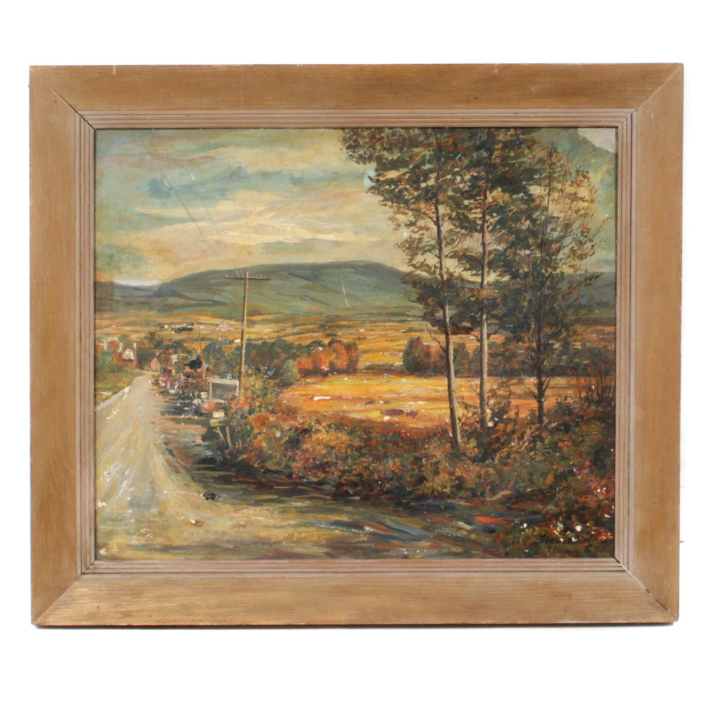 Hilda Karniol Oil Painting of Country Road