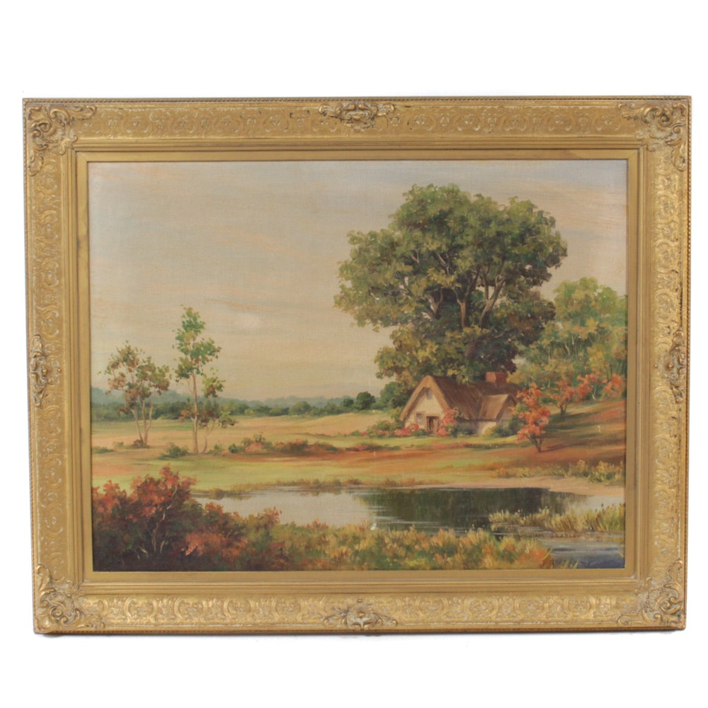 "Reproduction William Bradley Landscape Oil Painting ""The Crofter's Cottage"""