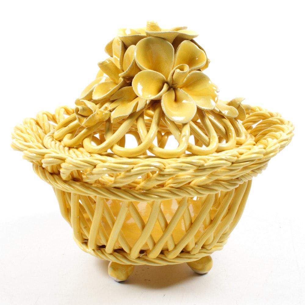 Italian Ceramic Floral Lidded Basket
