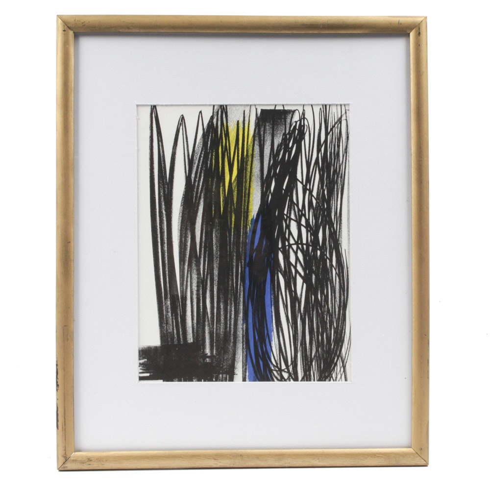 """Hans Hartung Tricolor Lithograph From 1973 """"XXe Siecle"""""""