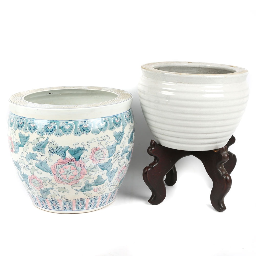 Chinese Style Ceramic Planters and Wooden Stand
