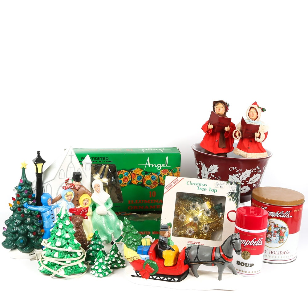 Vintage Christmas and Winter Holiday Decor Featuring 1987 Yuletide Tree
