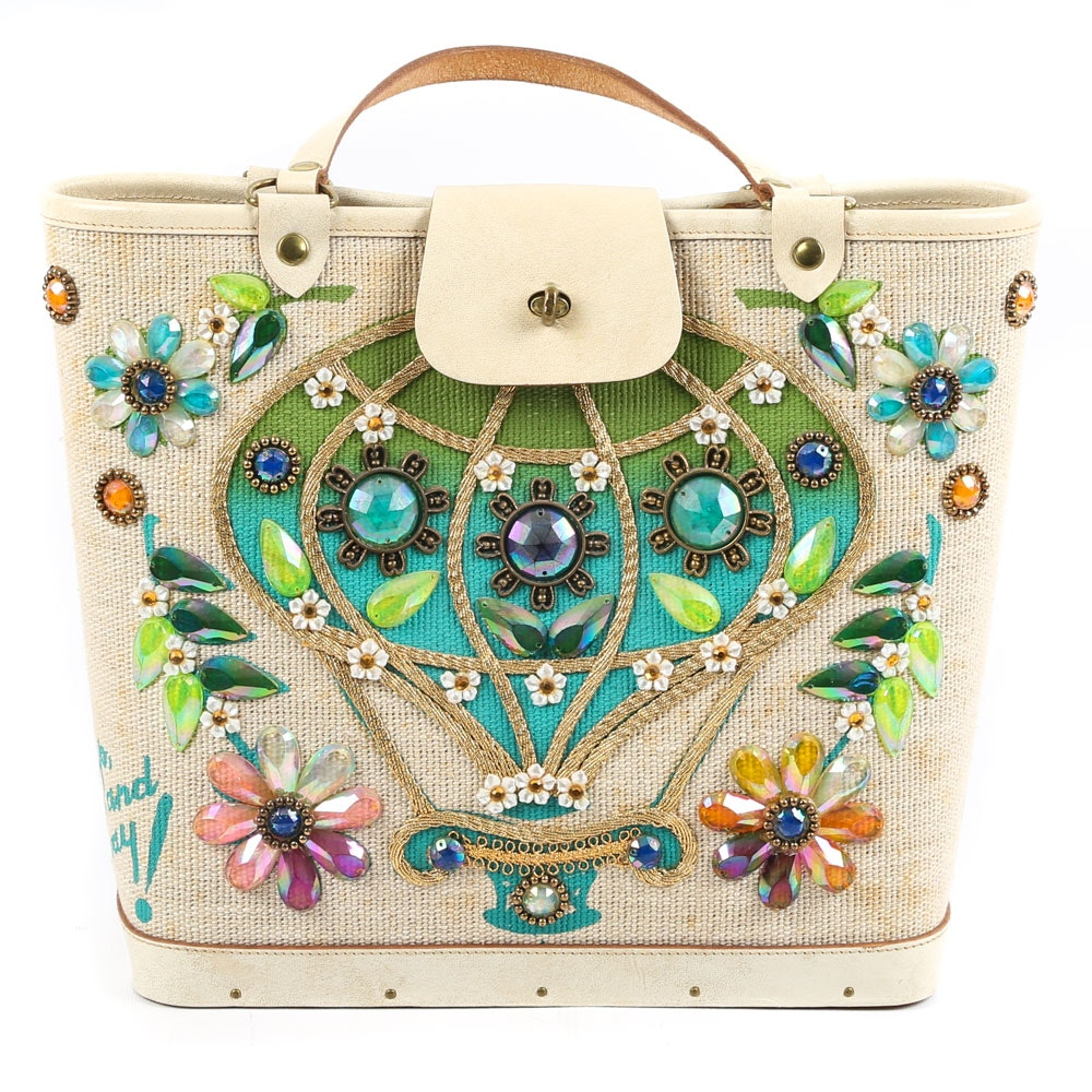 """1960s Enid Collins of Texas """"Up, Up and Away!"""" Embellished Canvas Handbag"""