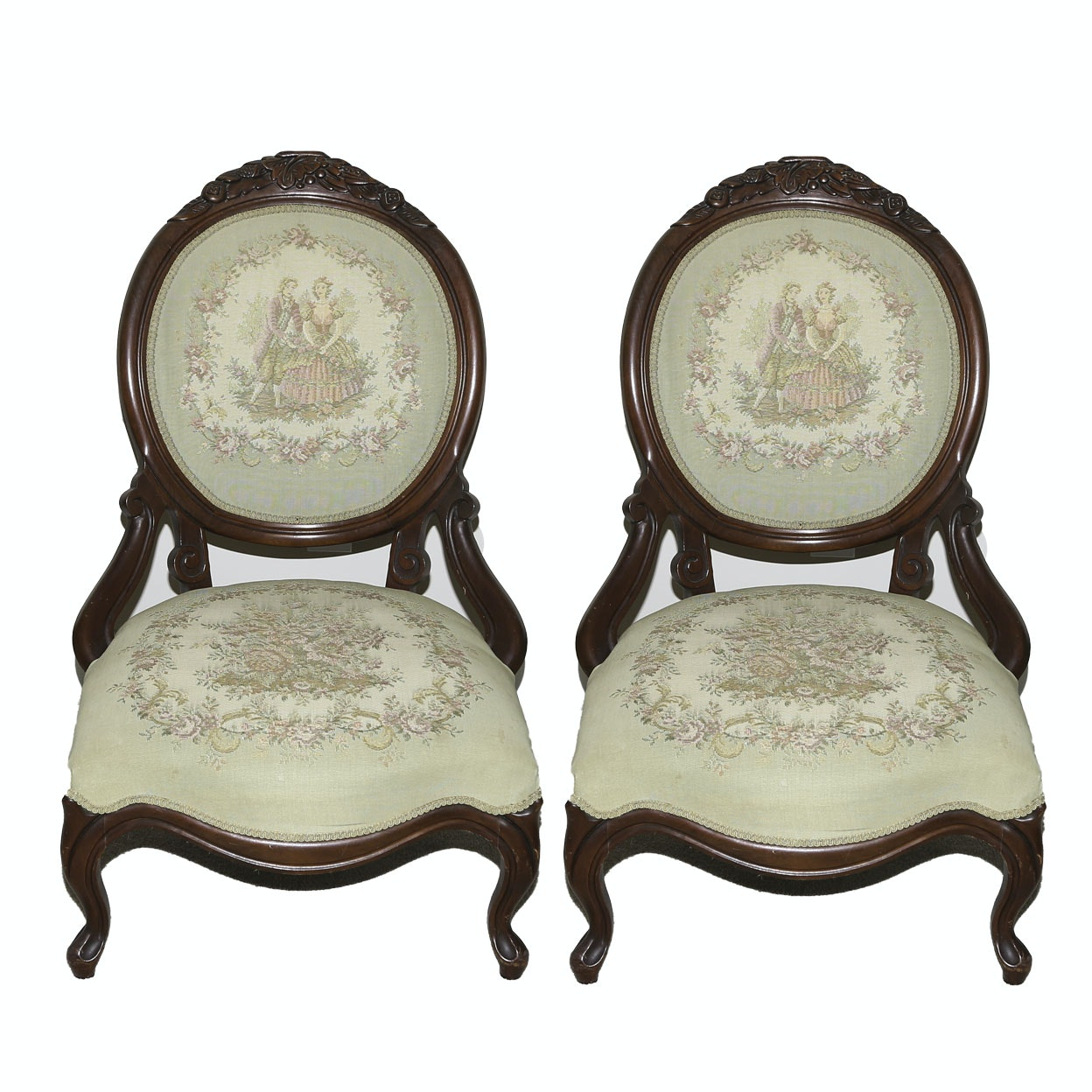 Victorian Style Upholstered Walnut Balloon Back Parlor Chairs, 20th Century