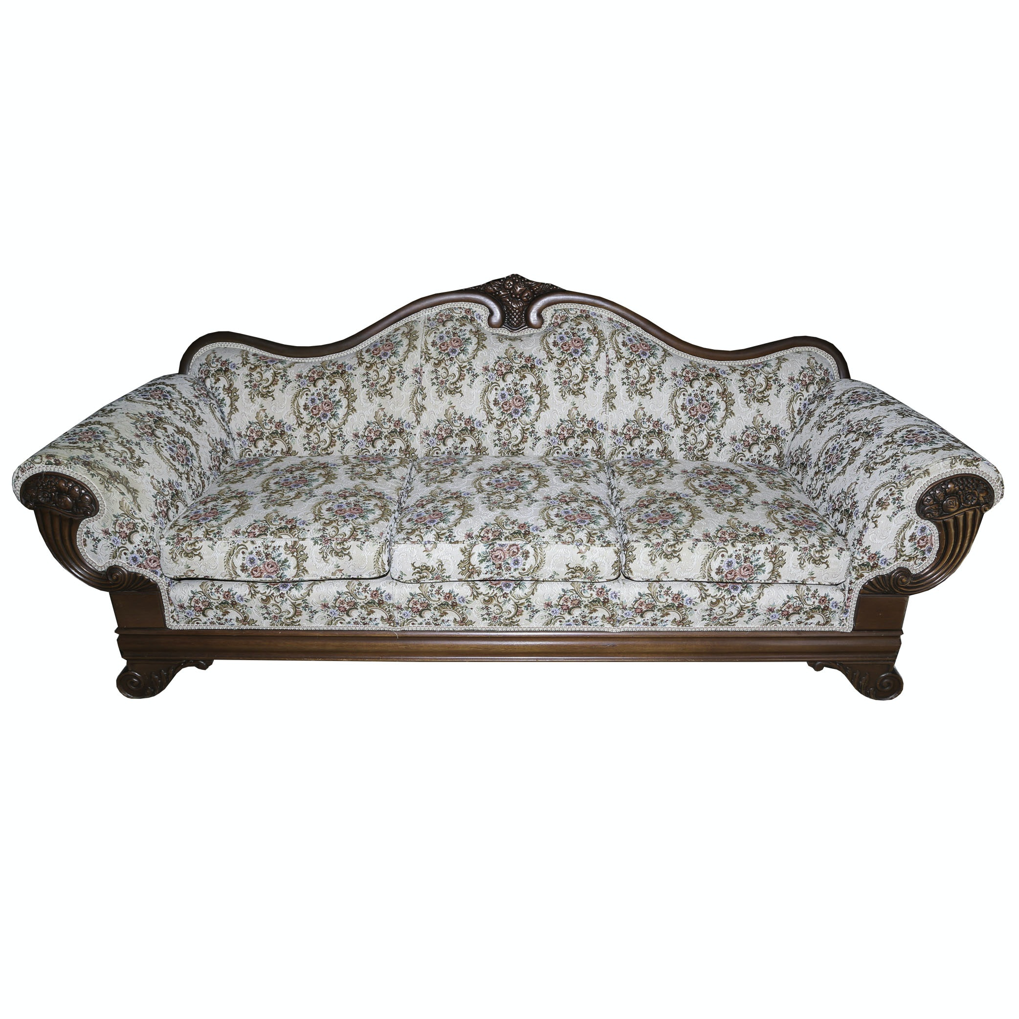 Empire Style Upholstered Sofa with Cornucopia Motif, 20th Century