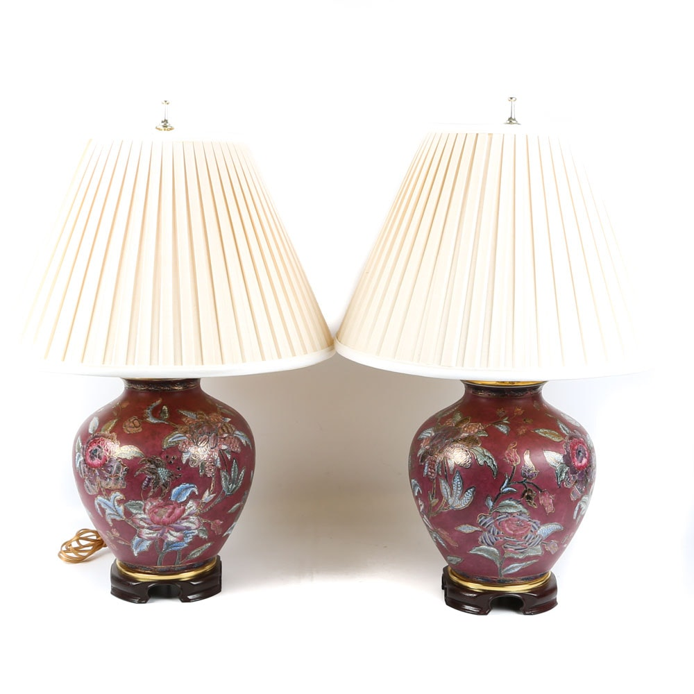 Asian Inspired Floral Moriage Ceramic Urn Table Lamps