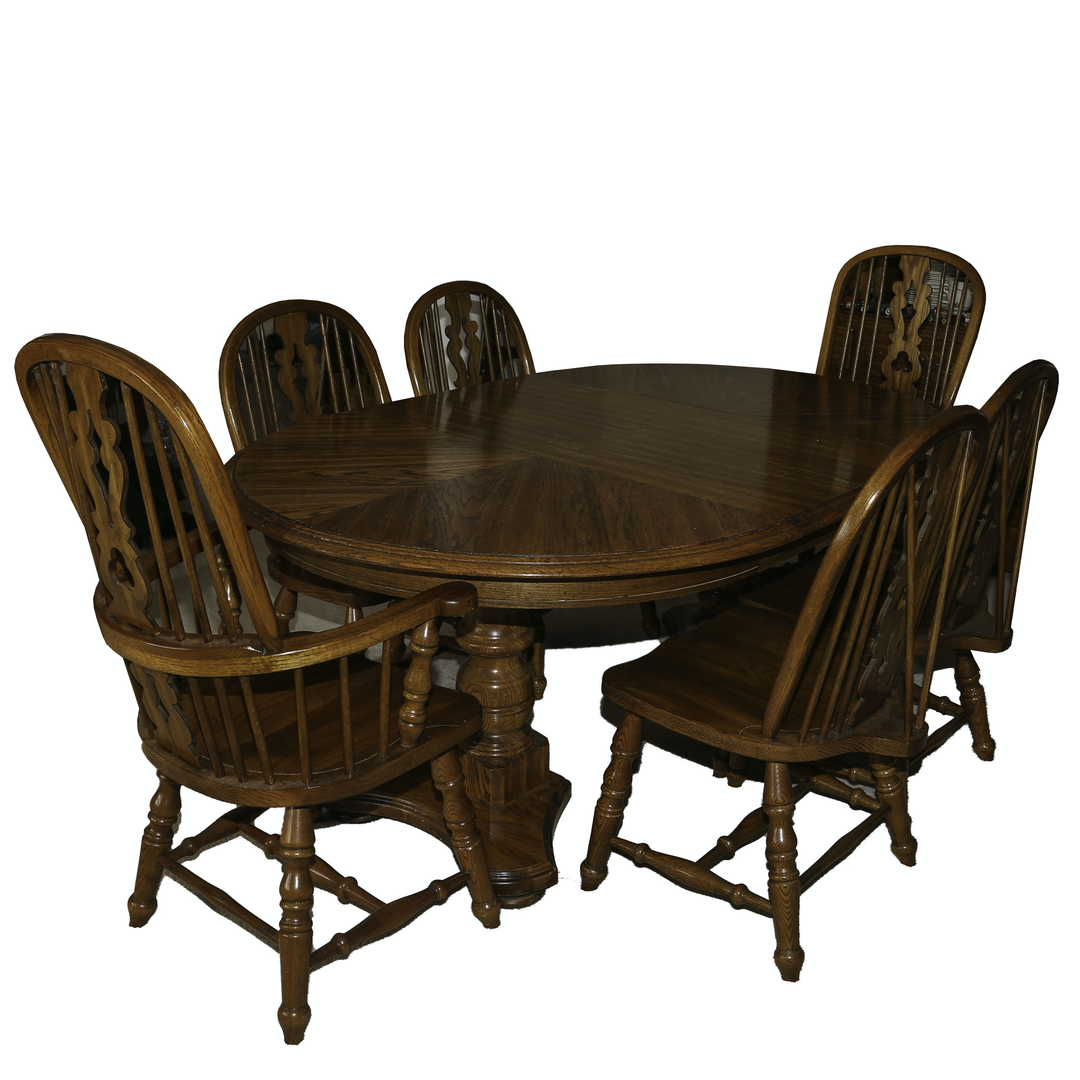 Oak Double Pedestal Dining Table & Wheel Back Spindle Chairs, 20th Century