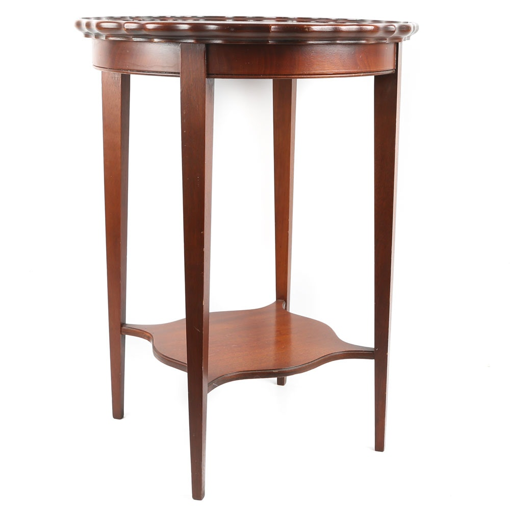 Mahogany Piecrust Top Side Table, Mid-20th Century