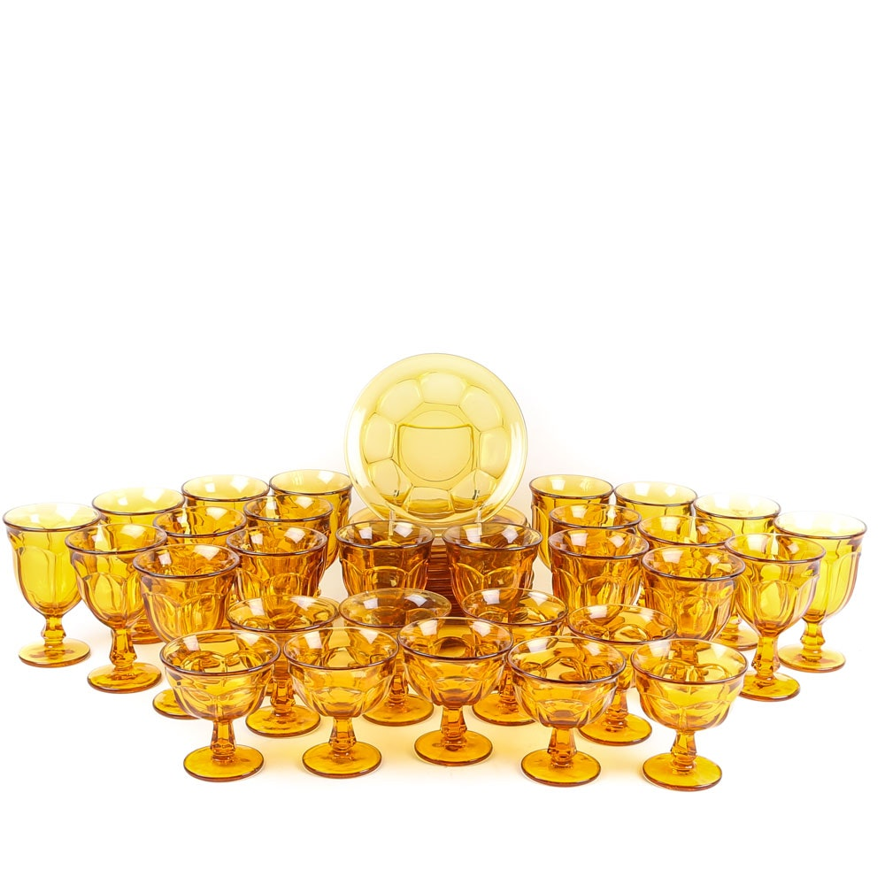 Amber Glass Stemware and Luncheon Plates, Vintage