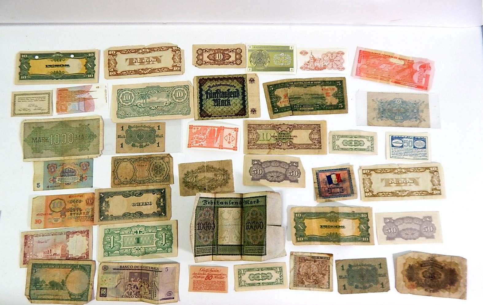 Vintage Foreign Currency with German, Japanese, France, Vietnam, More