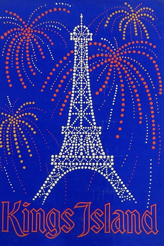 1970s Era Kings Island Cincinnati, Ohio Black Light Poster with Eiffel Tower