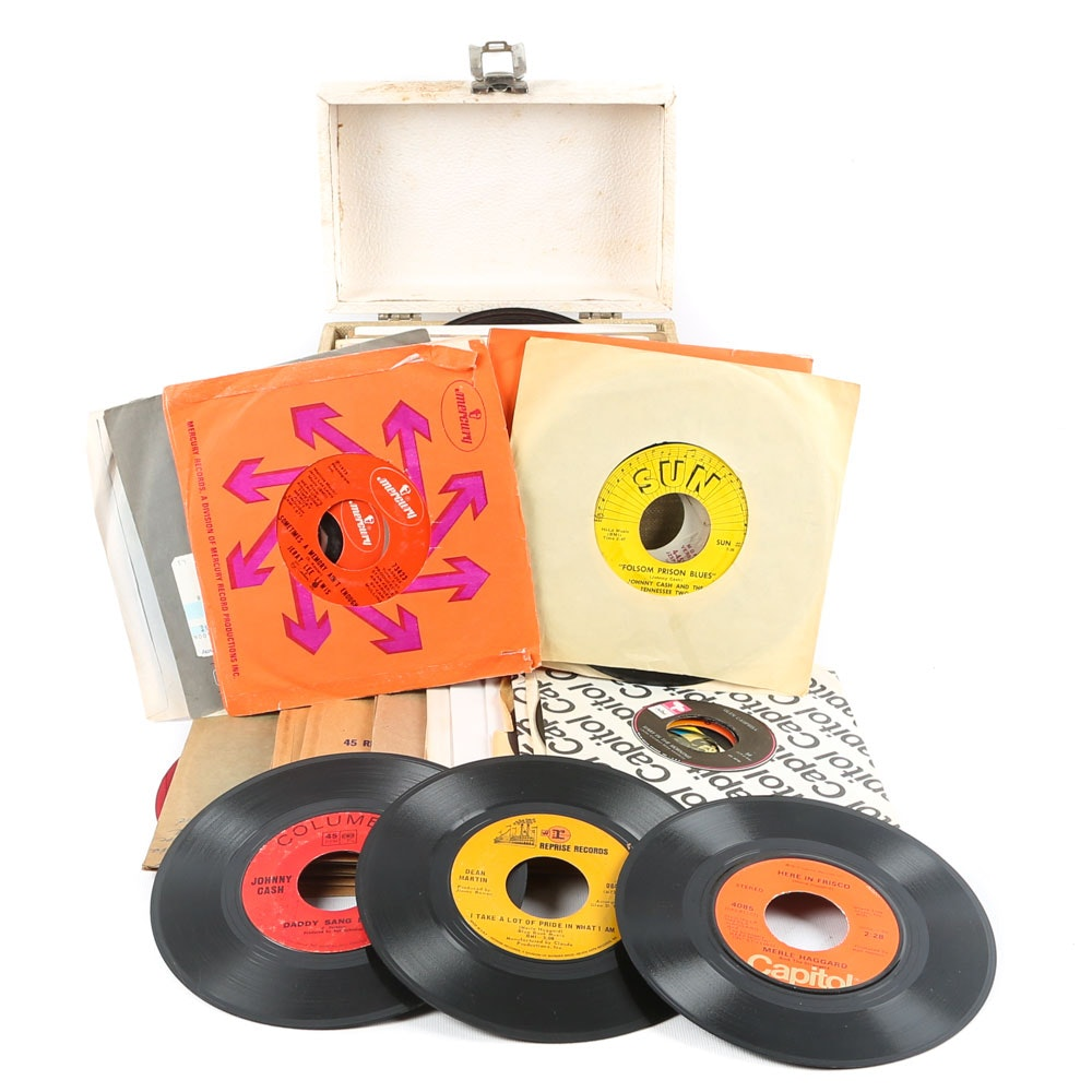Johnny Cash, Jerry Lee Lewis, Glen Campbell and Other 45 RPM Vinyl Records