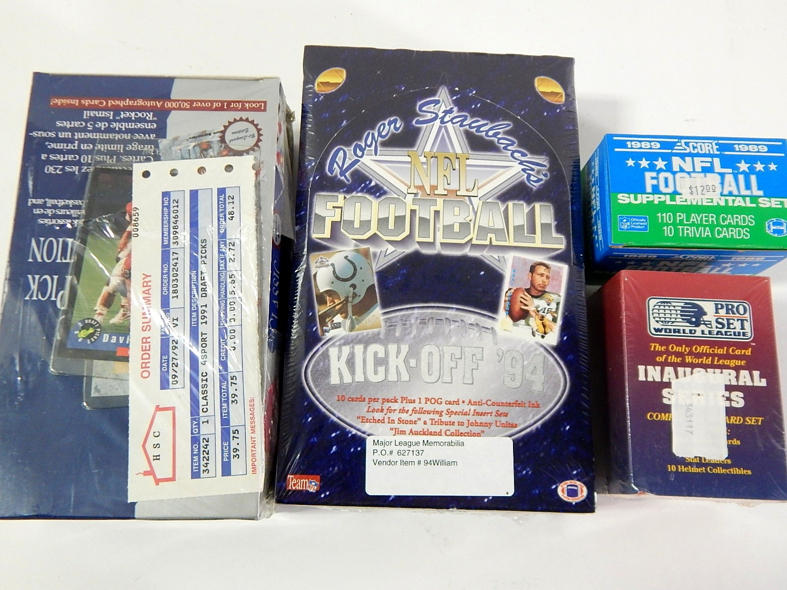 Sealed Factory Wax Pack Football Card Lot from 1989, 1991, 1994