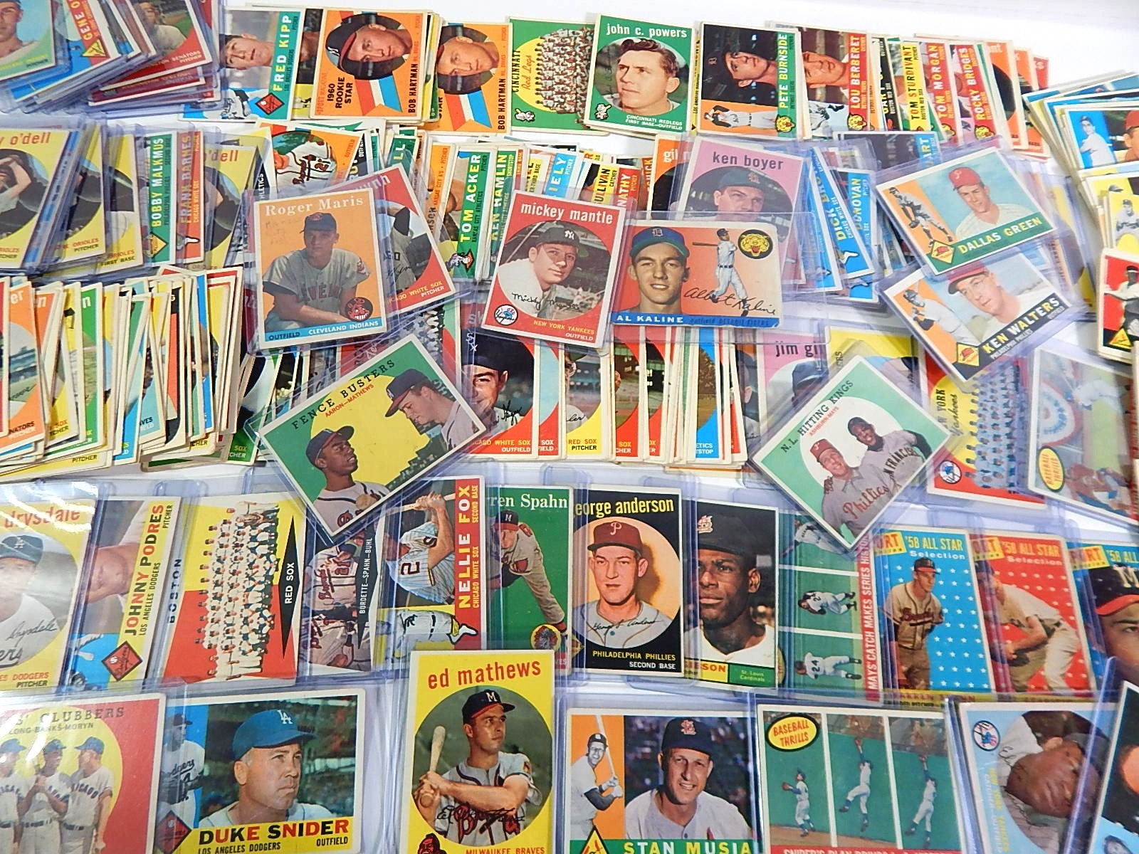 Large Vintage Topps Baseball Card Collection 1955 to 1961 with 1959 Mantle #10