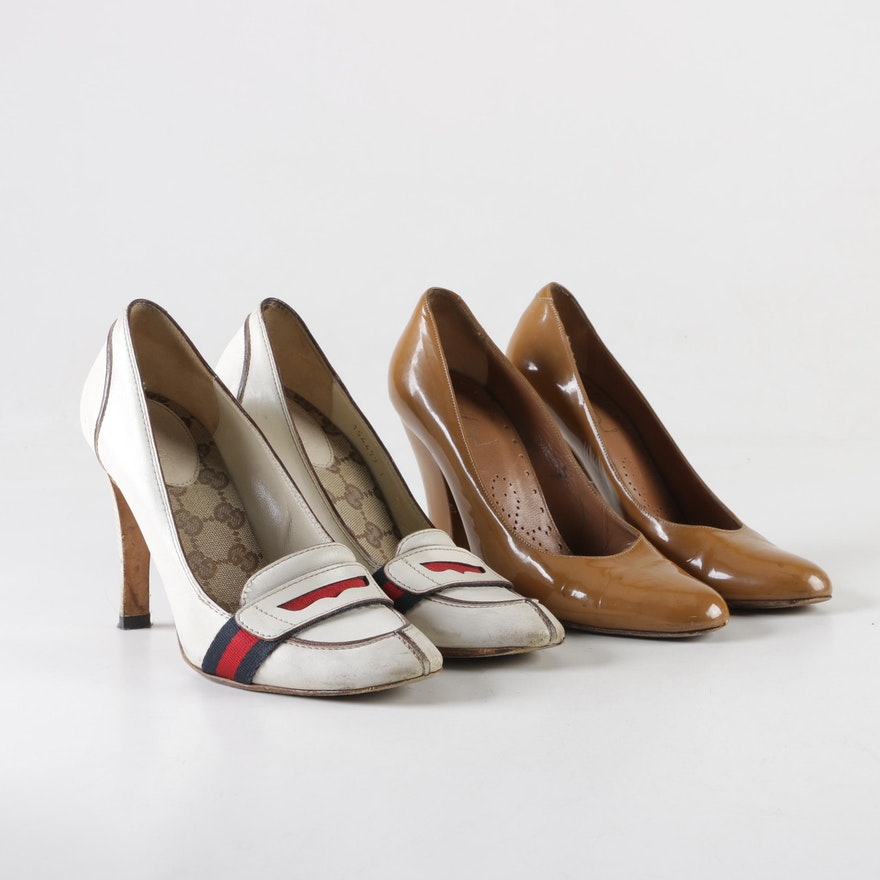 ef6a9e9eac2 Gucci Lifford Loafer Pumps and Yves Saint Laurent Patent Leather Pumps    EBTH
