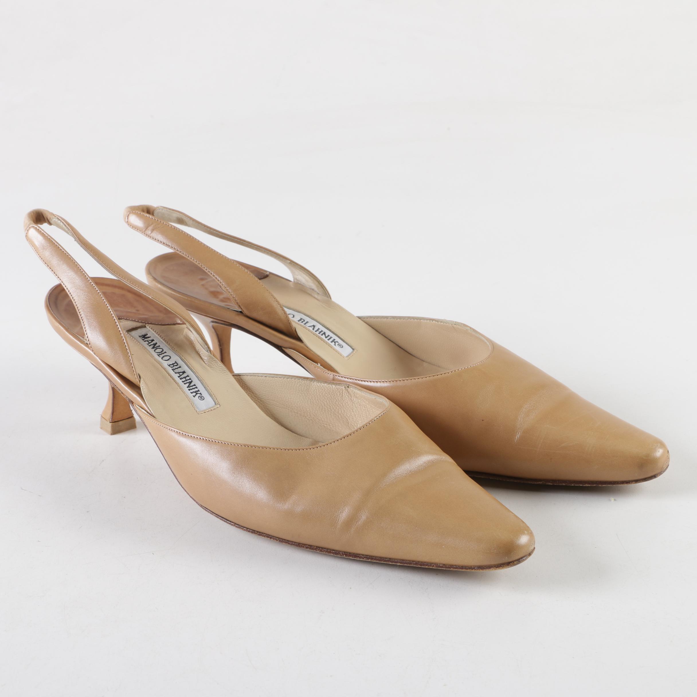 Manolo Blahnik Carolyne Beige Leather Slingback Kitten Heels