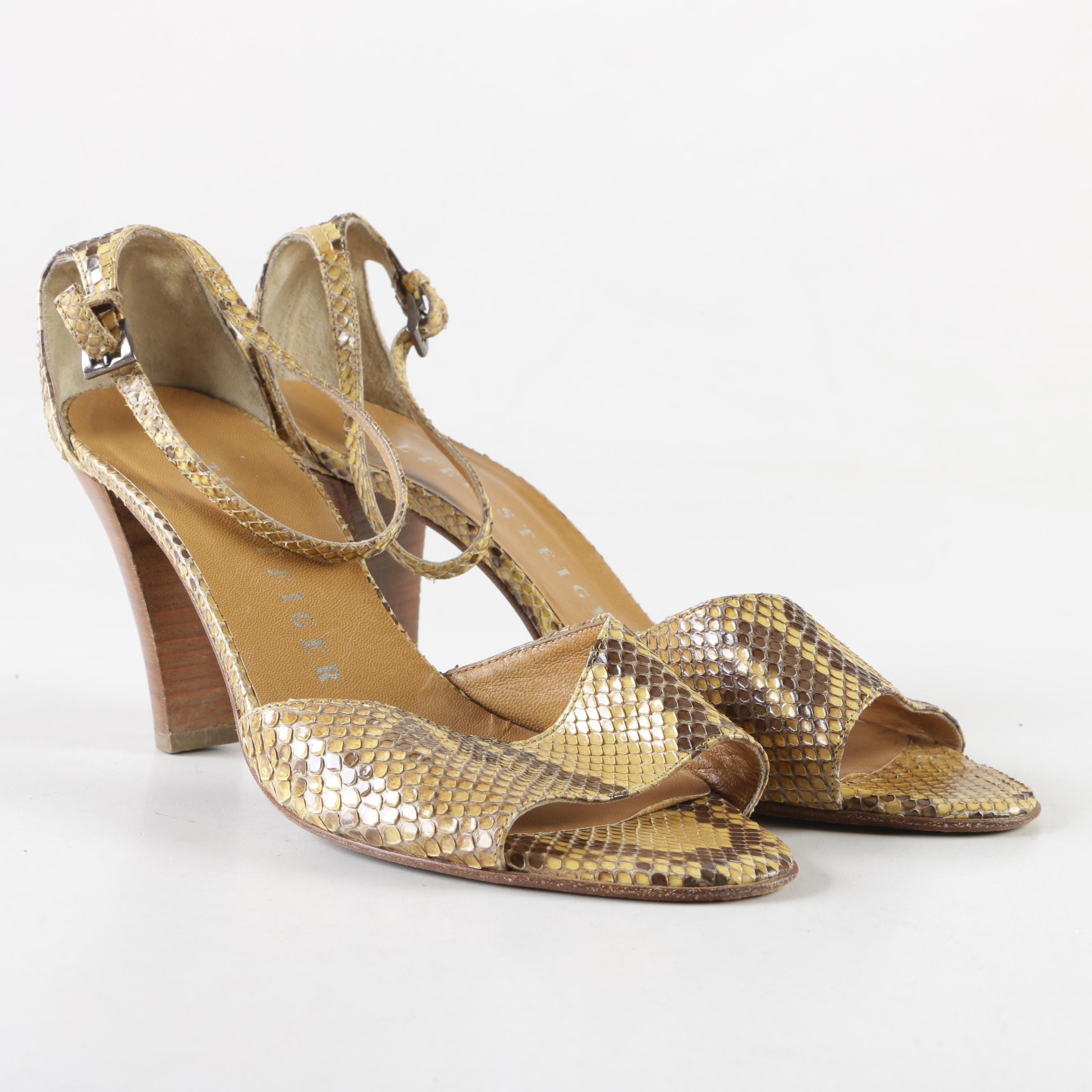 Walter Steiger Python Skin Ankle Strap Heels