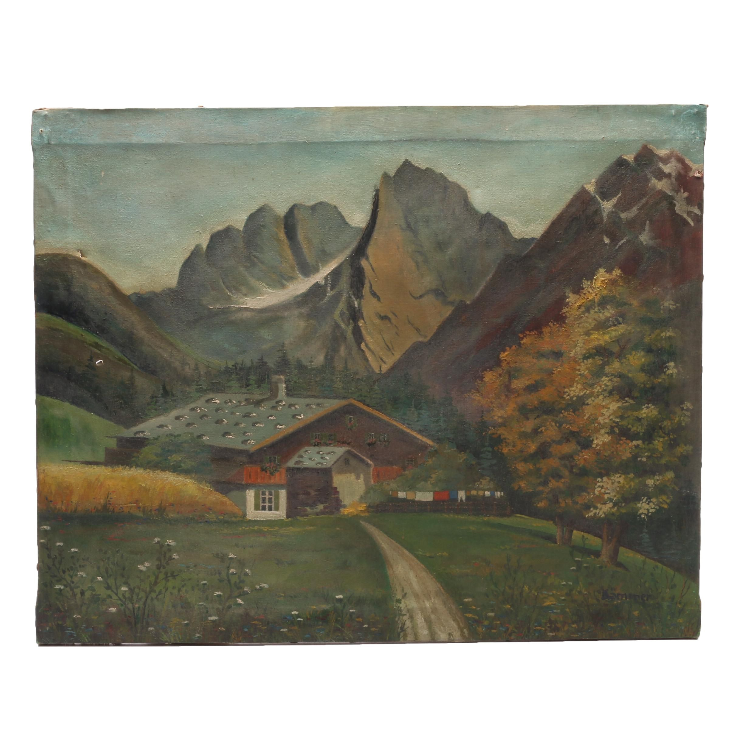 Kämmer Oil Painting of Alpine Landscape with Chalet