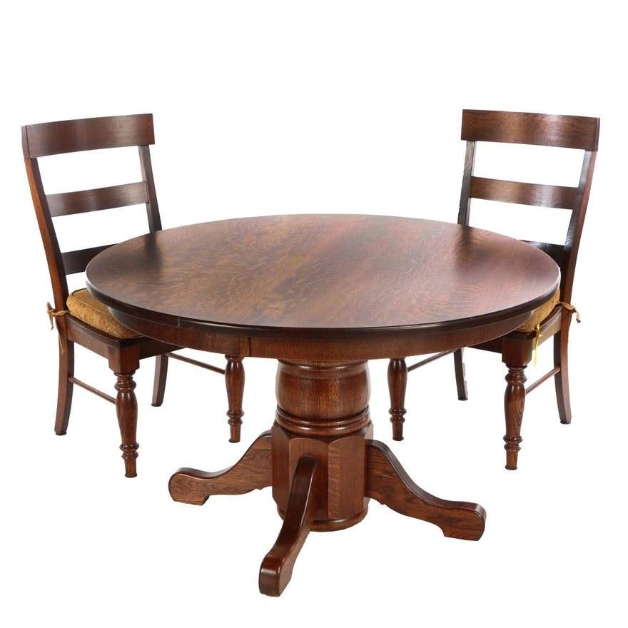 Astonishing Contemporary Oak Bench Made Pedestal Dining Table And Two Ladderback Side Chairs Download Free Architecture Designs Grimeyleaguecom