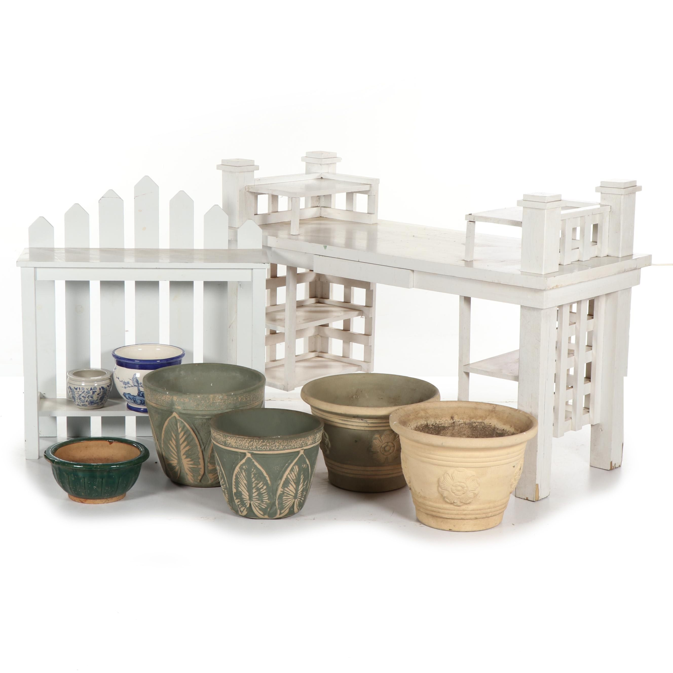 Painted Wood Potting Benches with Planters featuring Flutter the Dovecotes