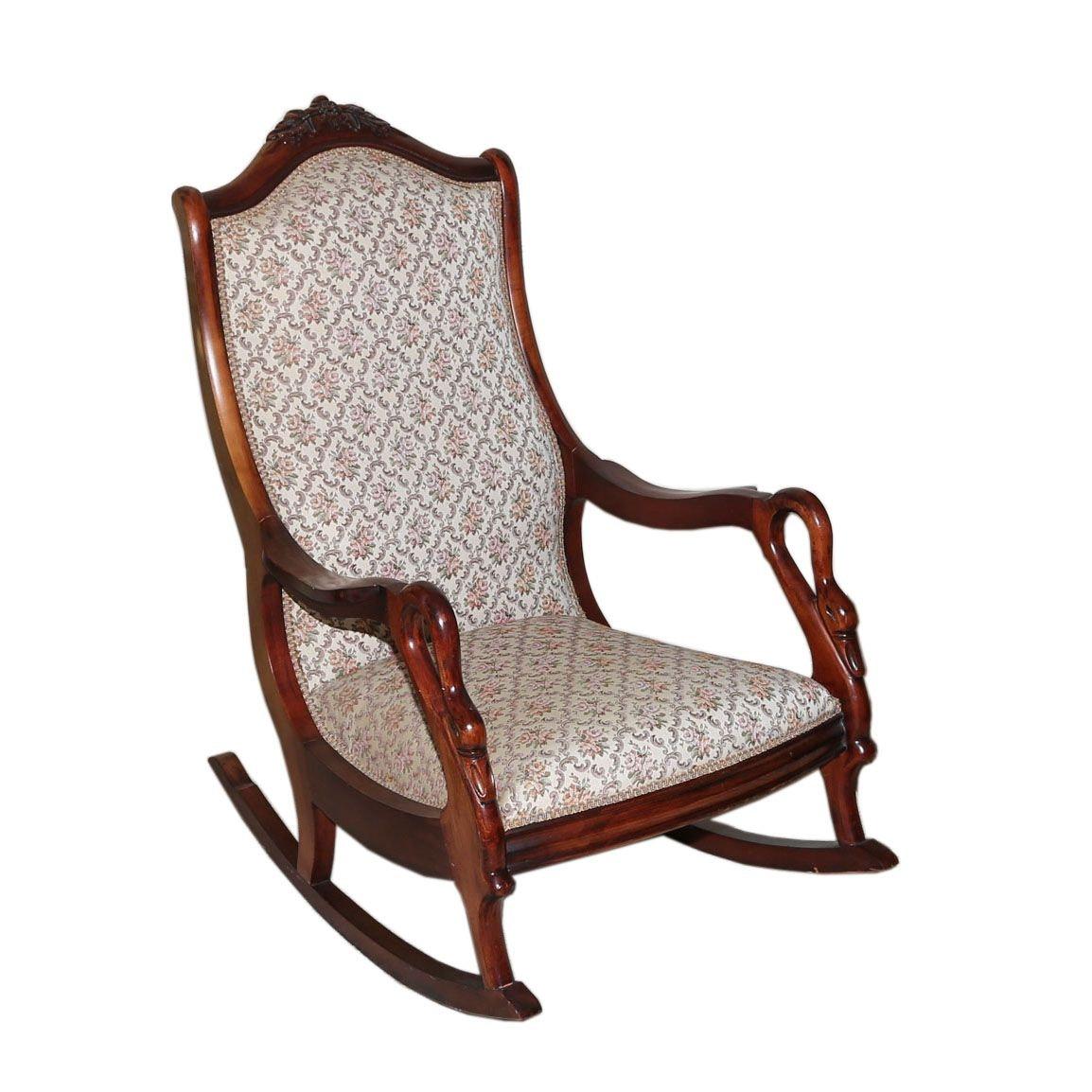 Walnut Gooseneck Rocking Chair, 20th Century
