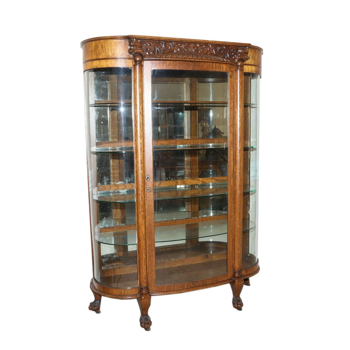 Victorian Oak Bow Front China Cabinet, Circa 1900