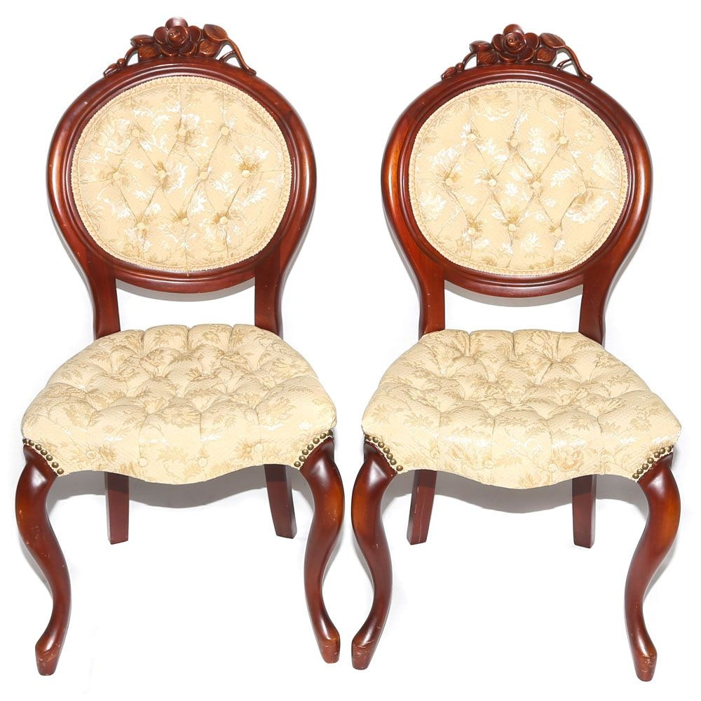 Victorian Style Mahogany Frame Button-Tufted Upholstered Side Chairs, 20th C.