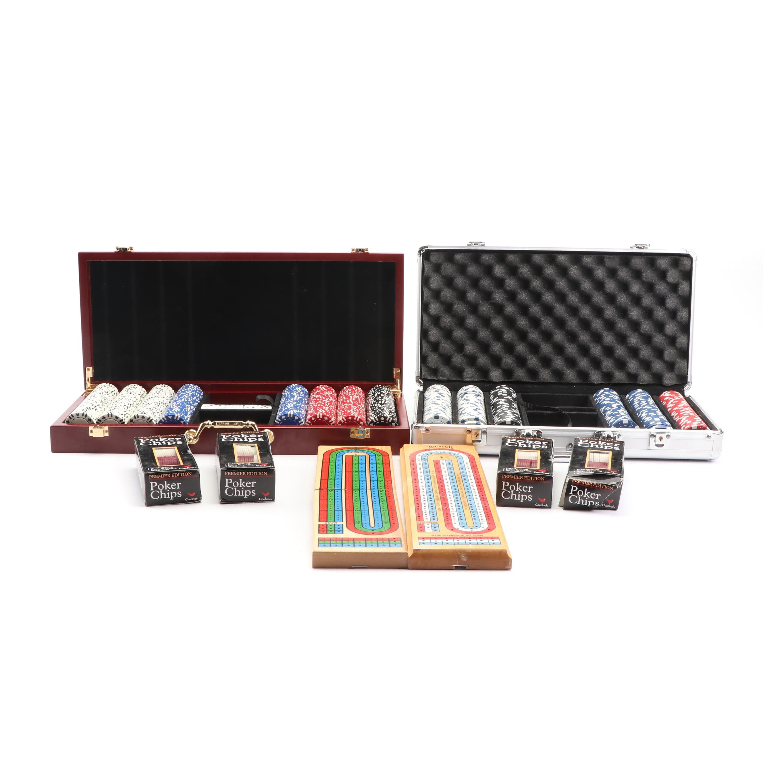 Cribbage Boards and Cases of Poker Chips