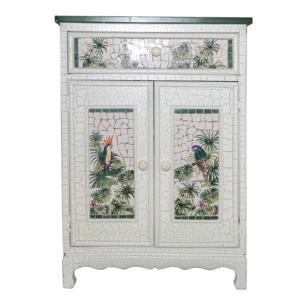 Painted Wood Cabinet with Tile Top Panel, 21st Century