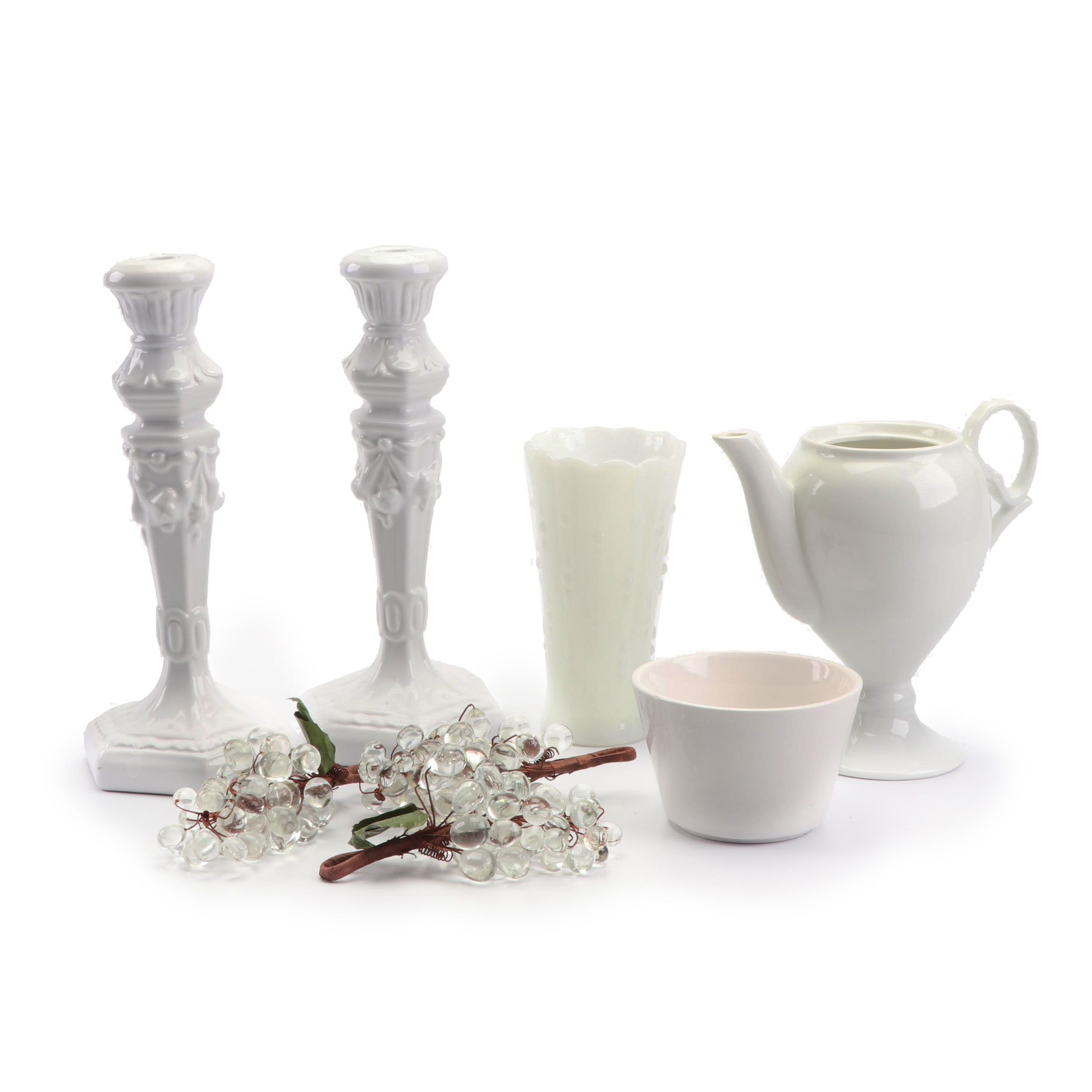 Rosanna Ceramic Candlesticks with Vases and Grape Clusters