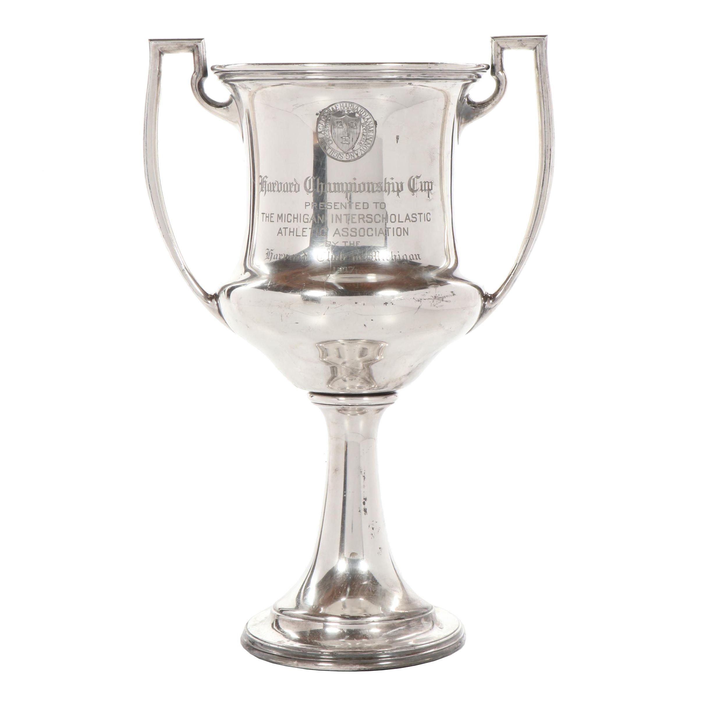 Harvard Club of Michigan Silver Plate Trophy Cup, Circa 1917
