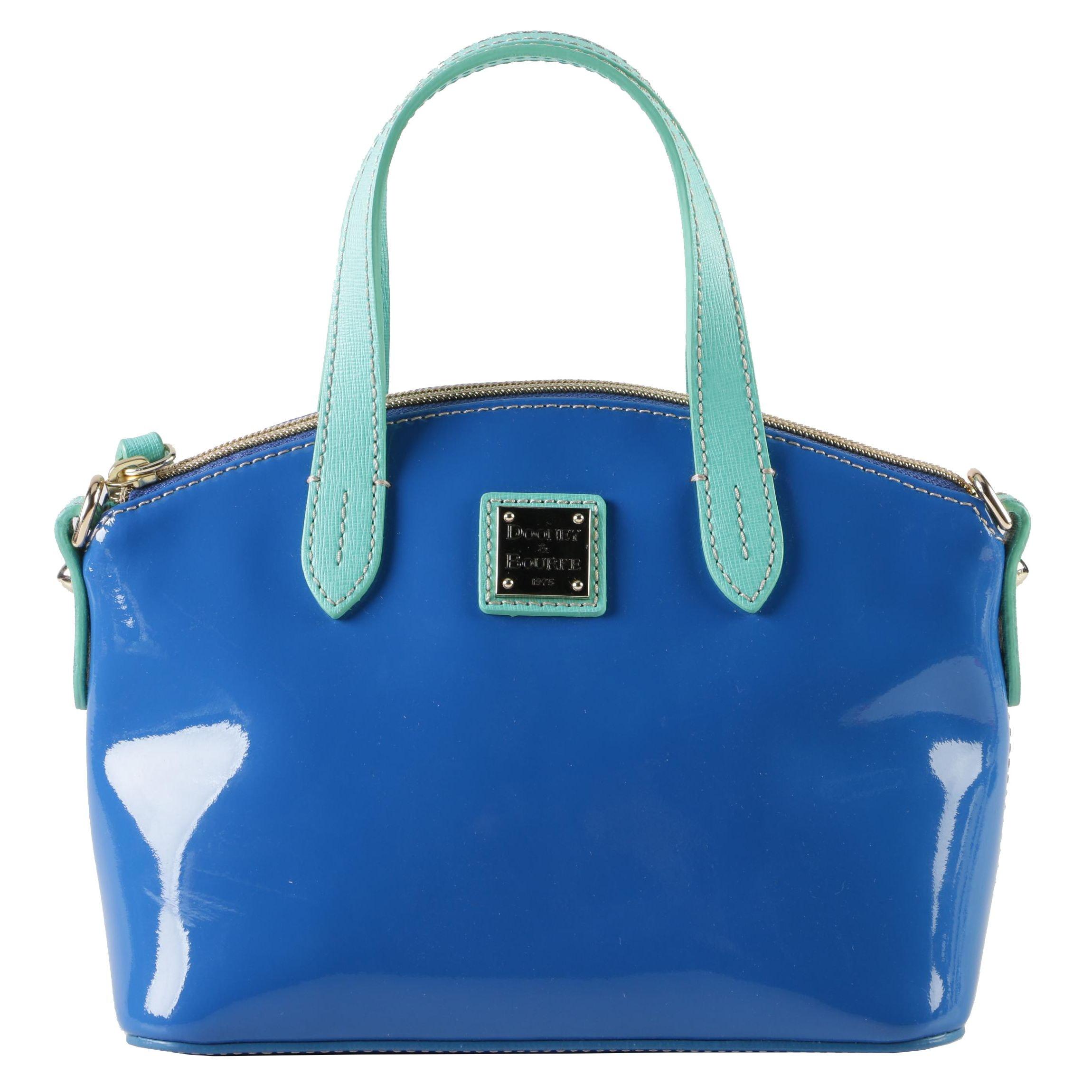 Dooney & Bourke Blue and Aqua Patent Leather Handbag with Shoulder Strap