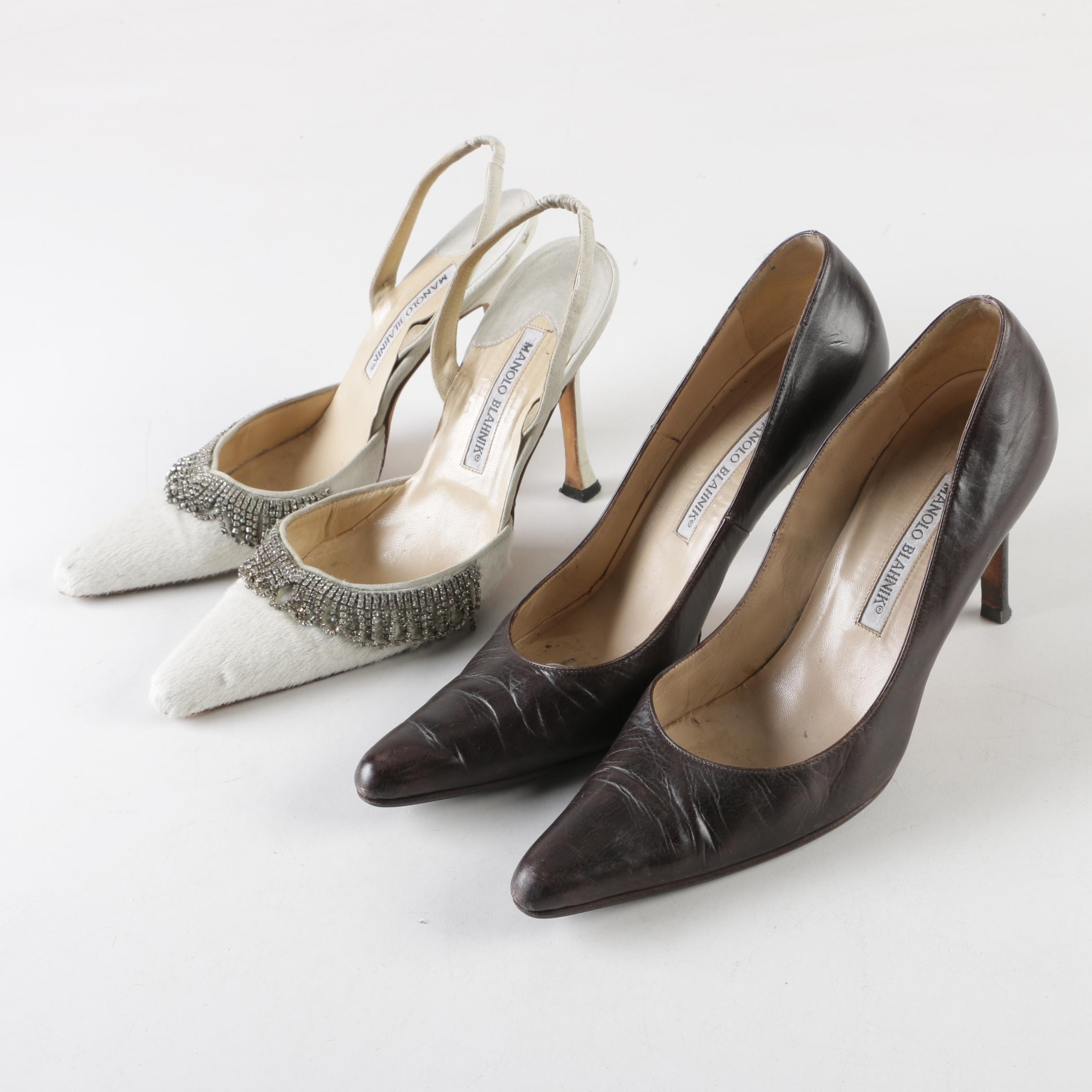 Manolo Blahnik Brown Leather Pumps and Embellished Calf Hair Slingback Heels