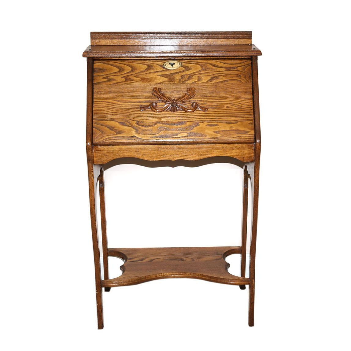 Oak Slant Top Ladies Writing Desk, 20th Century