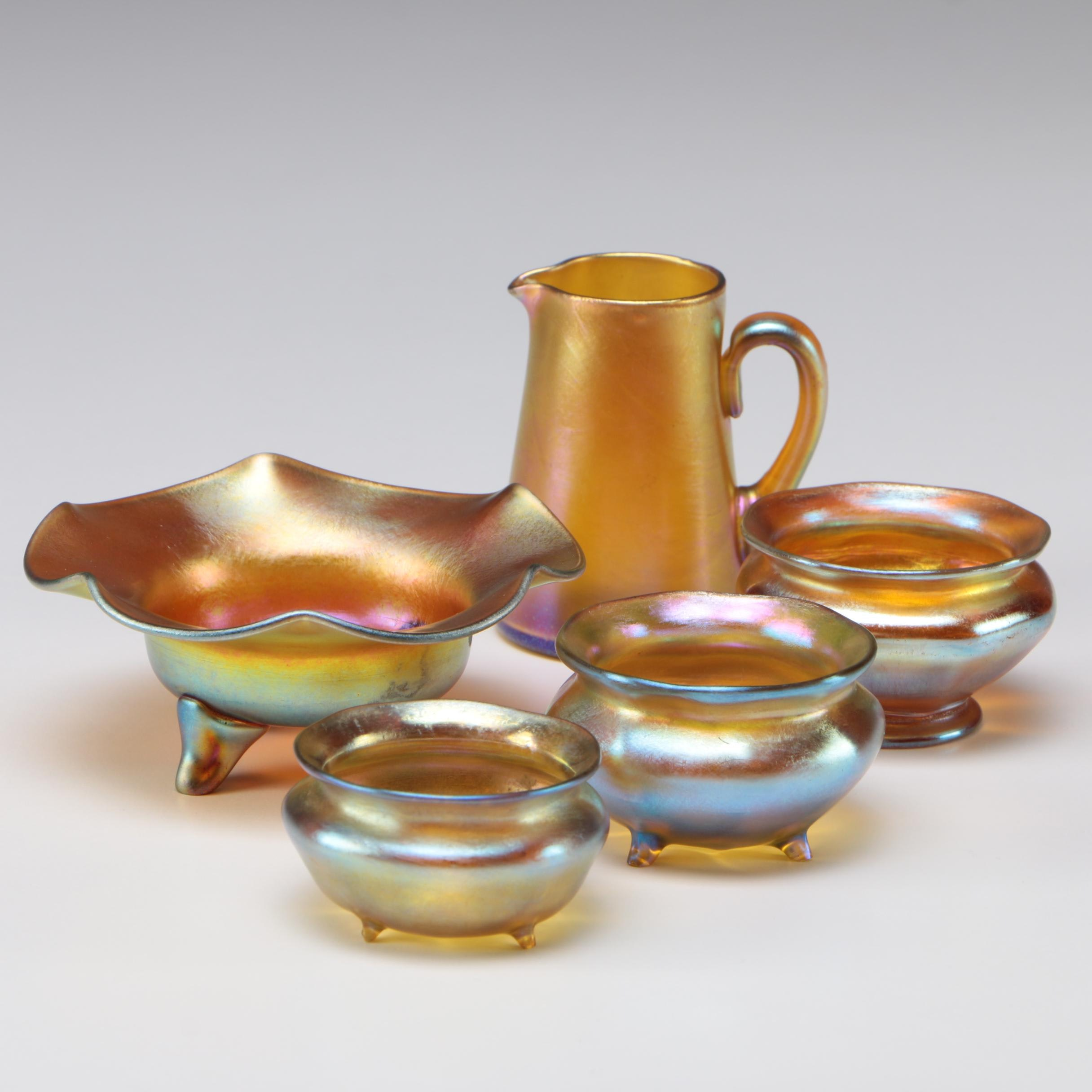 Louis Comfort Tiffany Favrile Art Glass Master Salts and Creamers, 1890s - 1900s