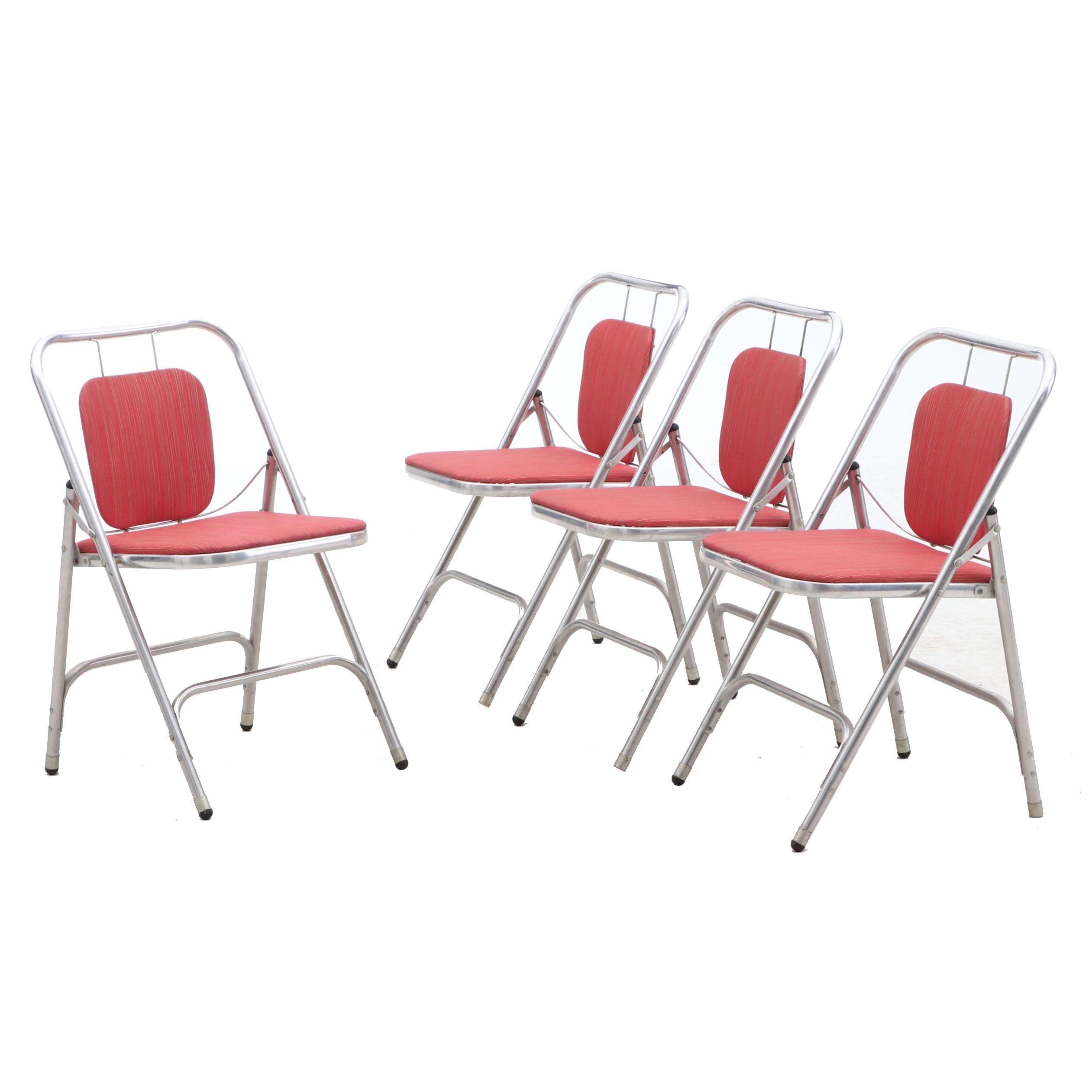Upholstered Aluminum Framed Folding Chairs by Shott Aluminum Furniture