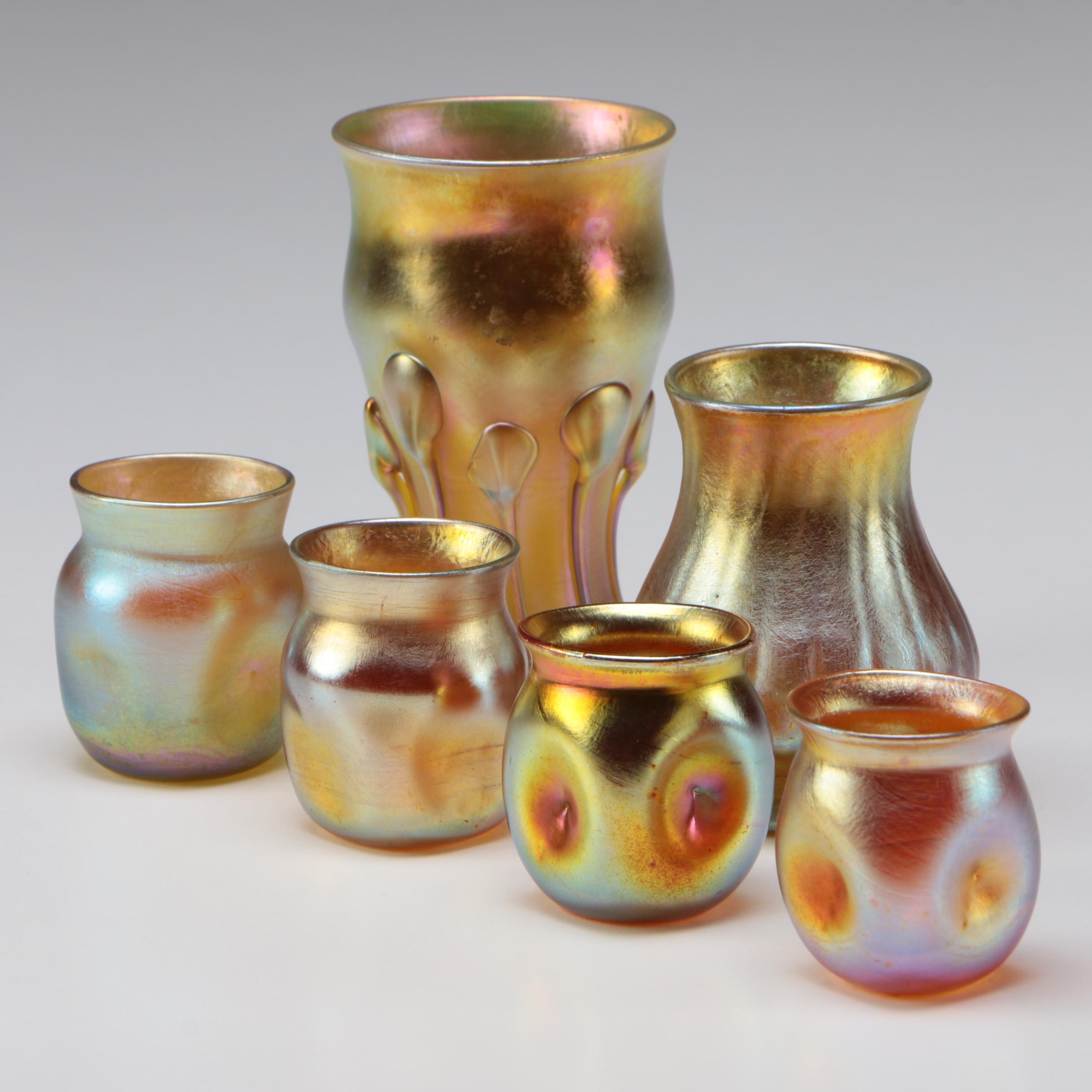 Louis Comfort Tiffany Favrile Art Glass Cordials and Vases, 1890s - 1900s